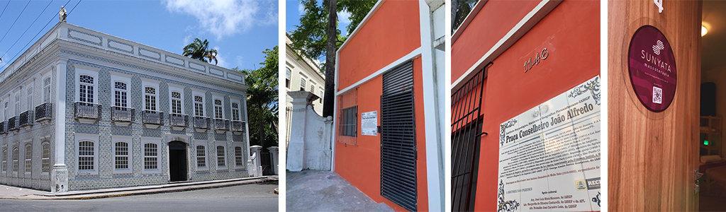 Da esquerda para direita: Museu da Abolição na Madalena e Galeria da Abolição e Entrada da Clínica Sunyata Massoterapia - Sala 04 Massoterapia no Prado